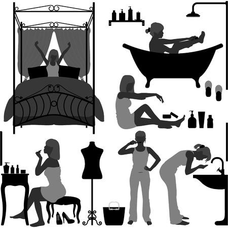 daily room: Persone Donna, ragazza, femmina quotidiana routine di mattina