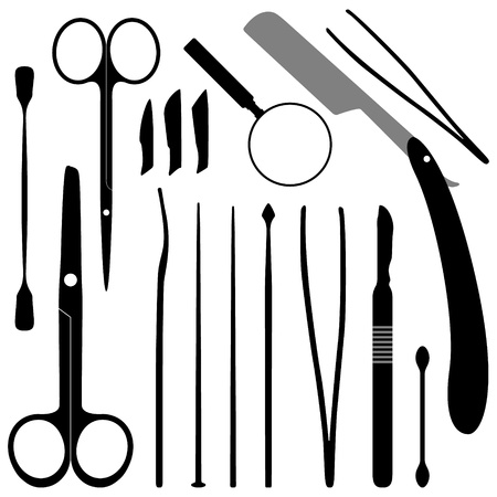 surgical equipment: Dissection Tools Equipment and Kits Illustration
