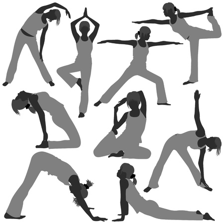 toning: Woman Yoga Exercise Poses Stretch Fitness Healthy Lifestyle