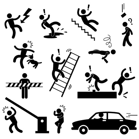 accidents: Caution Safety Danger Electricity Shock Slippery Fall Car Accident Icon Sign Symbol Pictogram