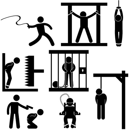 painful: Straf foltering Justitie Death Sentence Execution Icoon symbool teken Pictogram Stock Illustratie