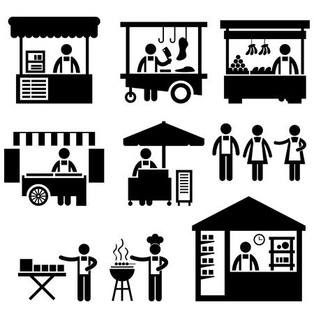 Décrochage de magasin Booth Marché Marché Boutique icône Connexion Pictogramme Symbole Vecteurs