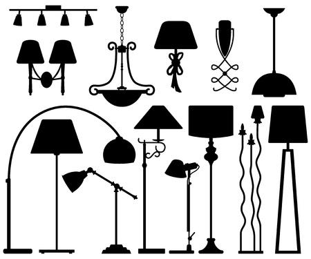 Lámpara de diseño para Pared Suelo Techo Ilustración de vector