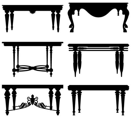 muebles antiguos: Antiguo antiguo diseño Mesa clásica Vectores