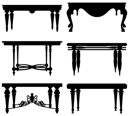 baroque furniture: Antique Ancient Classic Table Design Illustration