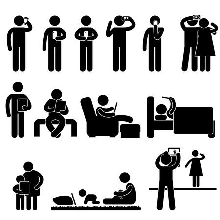 donna con telefono: Uomo Donna Bambini Persone che utilizzano smartphone e Tablet Icon Pittogramma Symbol Sign Vettoriali