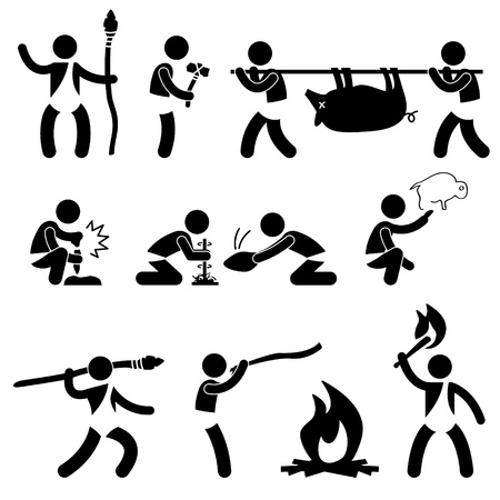hombre prehistorico: Primitive antiguo hombre prehistórico Caveman humano utilizando la herramienta y el icono Equipo Pictograma símbolo de la muestra