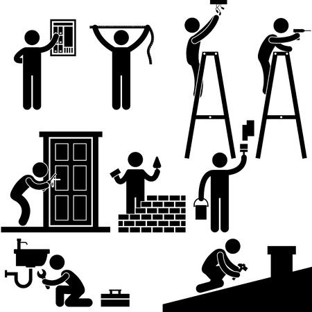 plumber with tools: Electricista Cerrajero Handyman Contratista para la fijaci�n de Trabajo Reparaci�n Light House Roof Icono s�mbolo Pictograma