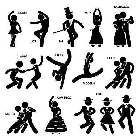 ballroom dancing: Dancing Dancer Ballet Jazz Tap Belly Ballroom Swing Break Modern Latin Tango Flamenco Line Stick Figure Pictogram Icon Illustration