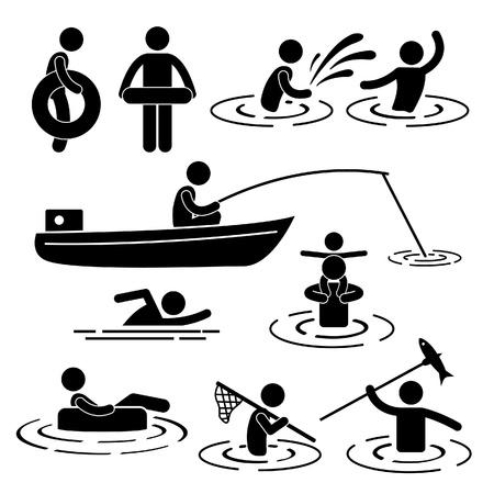 hombre pescando: Las personas Niños Ocio Pesca Piscina Jugar en River Water Icono Pictograma Stick Figure Vectores