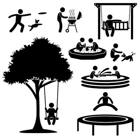 strichmännchen: Menschen Kinder Home Garden Park Playground Backyard Freizeit Erholung Aktivurlaub Stick Figure Piktogramm Icon Illustration