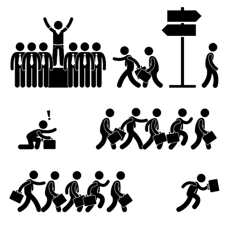 Standing Out of the Crowd Successful Business Competition Career People Stick Figure Pictogram Icon Vector