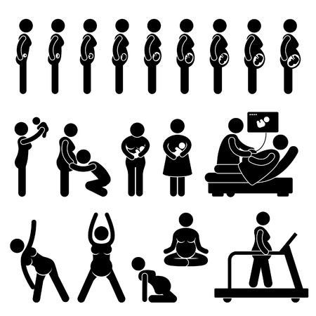black breast: Pregnant Pregnancy Stages Process Prenatal Development Mother Baby Exercise Stick Figure Pictogram Icon