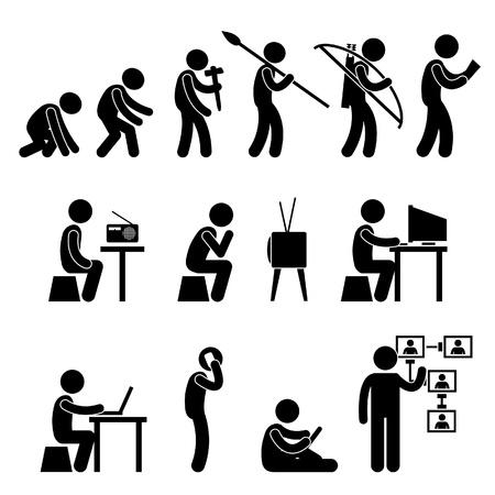 evolucion: Man Tecnología Evolución humana Stick Figure Icono Pictograma Vectores