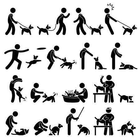 Man Dog Training Playing Pet Stick Figure Pictogram Icon Vector