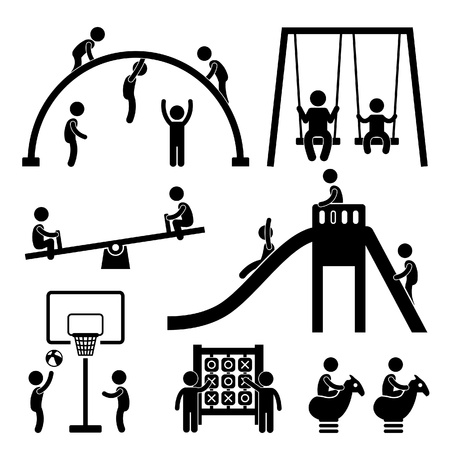 bimbi che giocano: Bambini che giocano a parco giochi all'aperto Stick Figure Pittogramma Icona Vettoriali