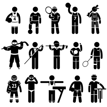 sportsmen: Sportswear Sports Attire Clothing Apparel Player Athlete Wear Shirt Stick Figure Pictogram Icon Illustration