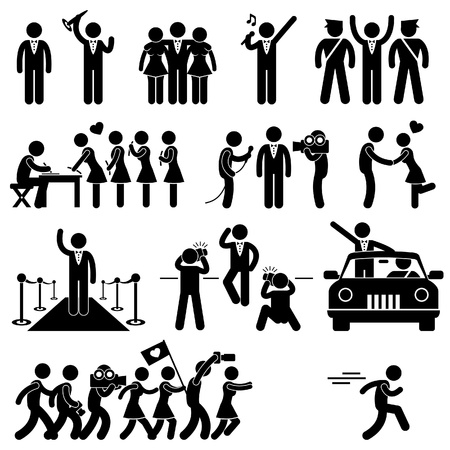 rich people: Idol Celebrity VIP VVIP Politician Singer Actor Movie Star Fans Stick Figure Pictogram Icon Illustration