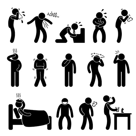 husten: Krank krank Fever Flu Kalten Niesen Husten Vomit Disease Stick Figure Piktogramm Icon Illustration