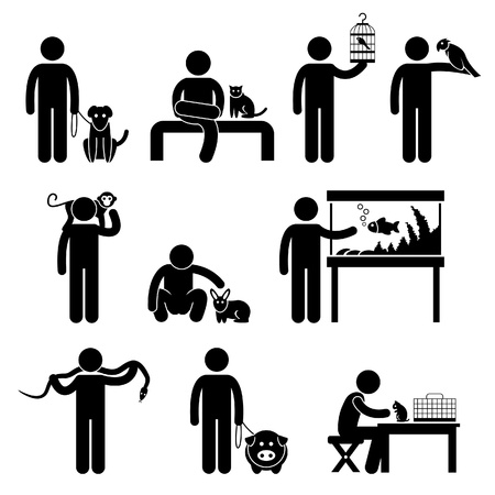 Man and Pets Dog Cat Bird Parrot Monkey Rabbit Fish Snake Python Pig Hamster Mouse Stick Figure Pictogram Icon Vector