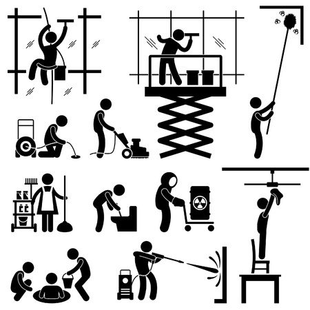 window cleaning: Industrial Cleaning Services Risky Cleaner Job Working Stick Figure Pictogram Icon