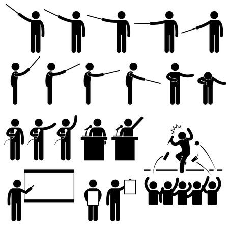 Presentación del altavoz Enseñanza Speech Stick Figure Icono Pictograma Ilustración de vector