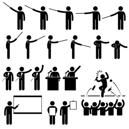 Speaker Presentation Teaching Speech Stick Figure Pictogram Icon Vector