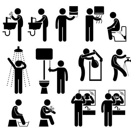 higiena: Higiena osobista Mycie twarzy rąk Prysznic szczotkowanie zębów Łazienka wc Stick Figure Ikona Pictogram Ilustracja