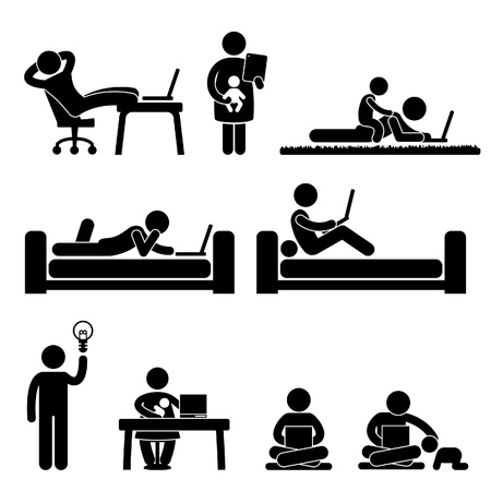 strichm�nnchen: Work From Home Office Lifestyle Freedom Stick Figure Pictogram Icon Illustration