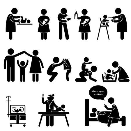 Nanny Mother Father Caring Baby Infant Children Stick Figure Pictogram Icon