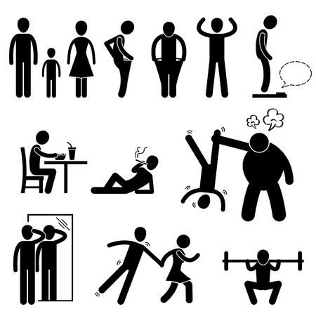 bully: Delgado Delgado Delgado hombre d�bil persona Anorexia Stick Figure Icono Pictograma Vectores