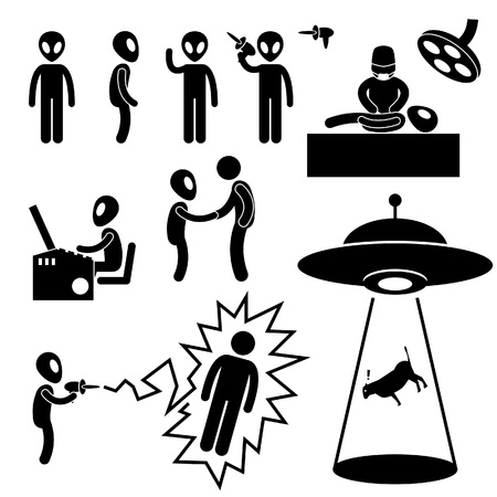 ufo: UFO Alien Invaders Stick Figure Pictogram Icon Illustration