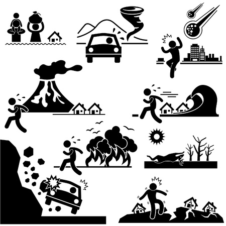 natural disaster: Disaster Doomsday Catastrophe Flood Tornado Meteor Volcano Tsunami Forest Fire Droughts Soil Erosion Landslide Earthquake Stick Figure Pictogram Icon Illustration