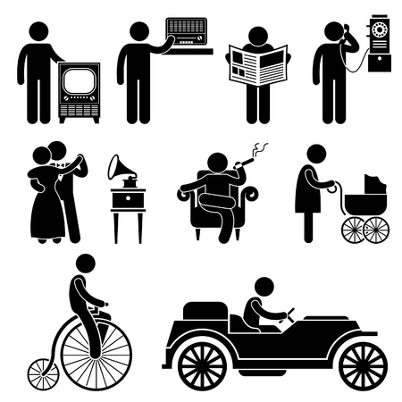 People Man Using Retro Vintage Object Stick Figure Pictogram Icon Vector