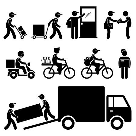 delivery package: Pizza Delivery Man Postman Milkman Paperboy Courier Services Stick Figure Pictogram Icon