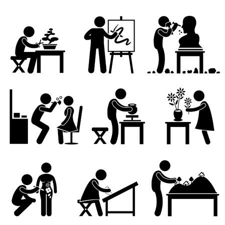 Artistieke Artiest Werk Beroep Bonsai Schilder Beeldhouwer Handcraft Potter Bloemist Make Borduur Stick Figure Pictogram Pictogram Vector Illustratie