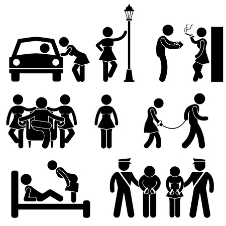 Prostitute Whore Hooker Pimp Stick Figure Pictogram Icon Stock Vector - 18809550