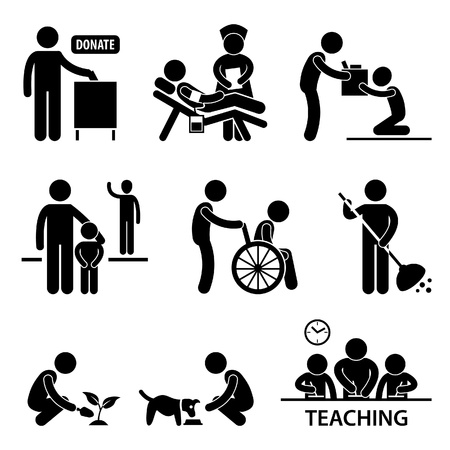 wheelchair: Man Charity Donation Volunteer Helping People Stick Figure Pictogram Icon Illustration
