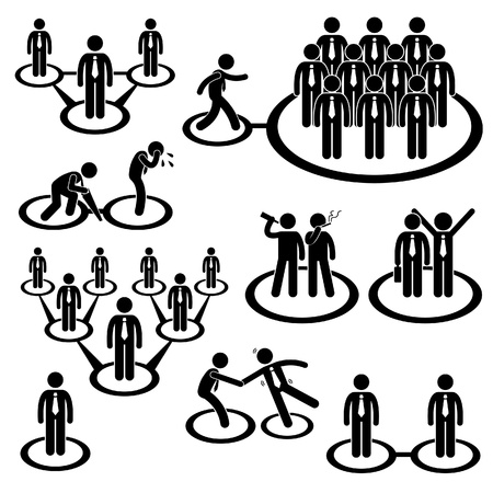 alone in crowd: Business Businessman People Network Relationship Company Connection Stick Figure Pictogram Icon