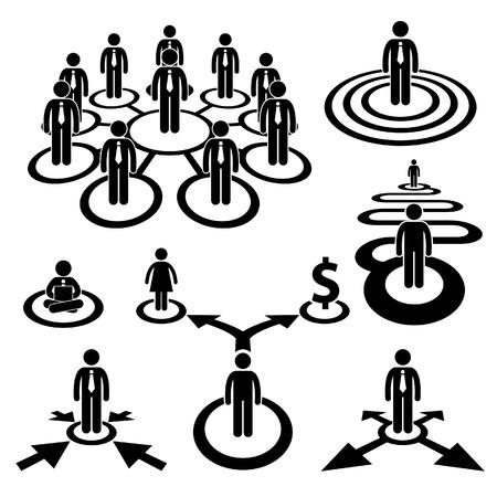 Businessman Fuerza Laboral Trabajo en equipo de la empresa Recursos Humanos de la figura del palillo de Cooperación Icono Pictograma
