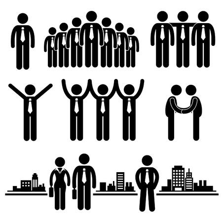 strichmännchen: Geschäftsleben Geschäftsmann Group Mitarbeiter Worker Human Resources Stick Figure Piktogramm Icon Illustration