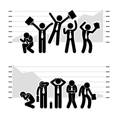 strichmännchen: Geschäftsmann Geschäftsleute Gewinnen Verlieren in Stock Market Graph Chart Stick Figure Piktogramm Icon Illustration
