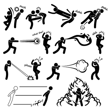 Kungfu Fighter Super Human Special Power Mutant Stick Figure Pictogram Icon Vector