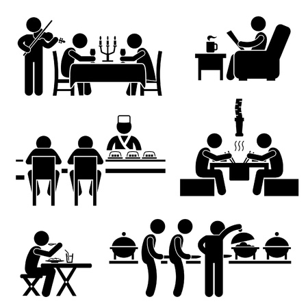 woman eat: Cafe Restaurant Food Drink Candlelight Dinner Coffee Shop Sushi japon�s coreano BBQ Buffet Stick Figure Icono Pictograma Vectores