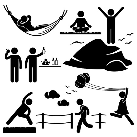 strichmännchen: Menschen Mann Frau Healthy Living Entspannende Wellness Lifestyle Stick Figure Piktogramm Icon Illustration