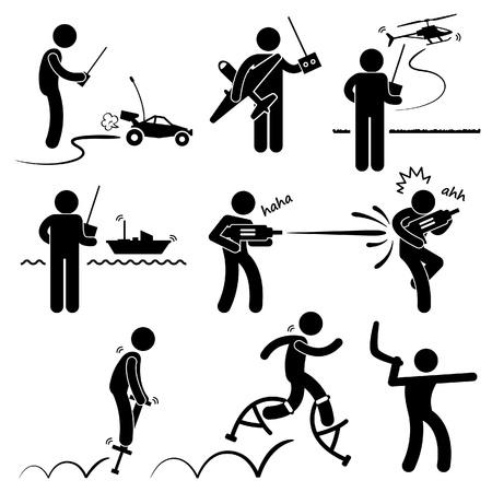 Mensen spelen met Outdoor Toys afstandsbediening auto vliegtuig helikopter Schip waterpistool Jumper Boomerang Stick Figure Pictogram Icoon Vector Illustratie