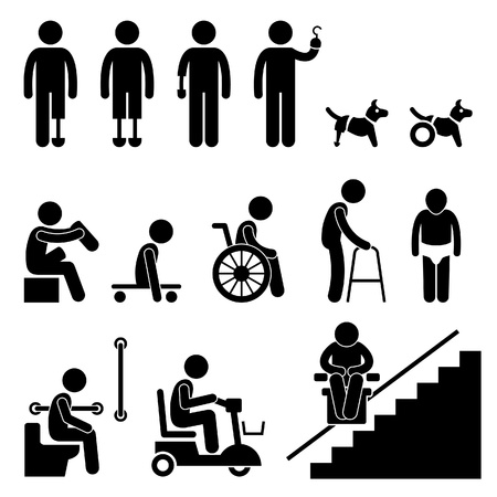 impairment: Amputee Handicap Disable People Man Tool Equipment Stick Figure Pictogram Icon Illustration