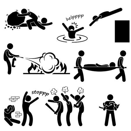 strichmännchen: Man Helping People Saving Life Rescue Retter Stick Figure Piktogramm Icon Illustration