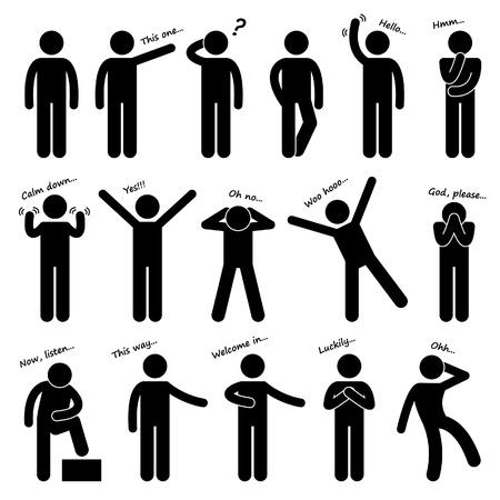 Ludzie Man Osoba Podstawowe Body Language Postawa Stick Figure Ikona Piktogram