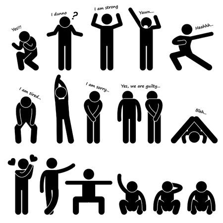 piktogram: Ludzie Man Osoba Podstawowe Body Language Postawa Stick Figure Ikona Piktogram